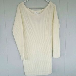 MISSGUIDED Off the Shoulder Ivory Sweater Dress